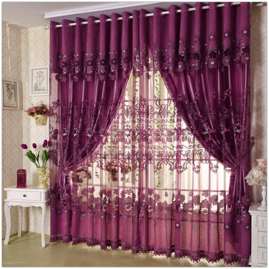 Purple Curtain With Net