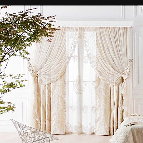 Off White Curtain With Net Layer